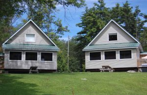 View of two Lakeside Chalets at Jocko's Beach Resort and Motel