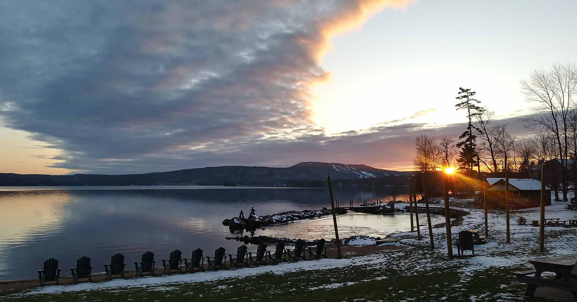 Beach area at sunset in early winter, Jcko's Beach Resort and Motel